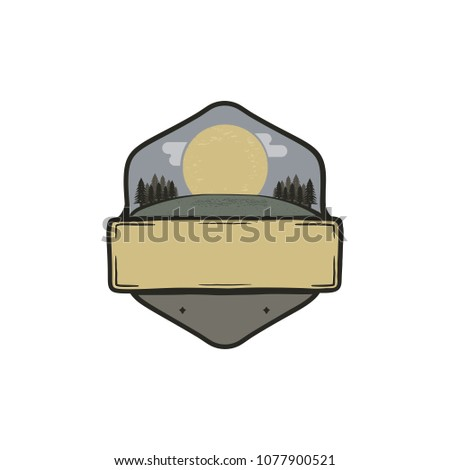vintage hand drawn national park badge patch concept blank template paste your own texts camping stock photo © jeksongraphics