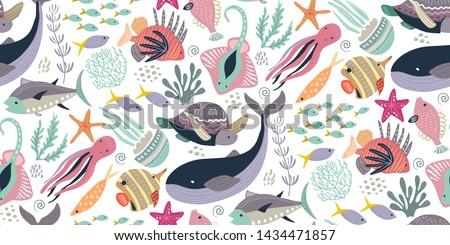 caranguejo · arte · padrão · sem · costura · bocado - foto stock © popaukropa