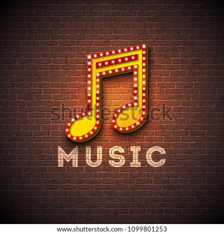 Music illustration with violin key lighting signboard on brick wall background. Vector design for in Stock photo © articular