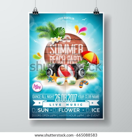 vector summer beach party flyer design with typographic elements on wood texture background tropica stock photo © articular