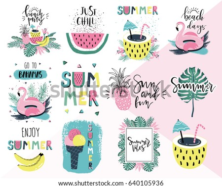 Vector Summer Holiday typographic illustration with exotic leaf and flower on tropical plants backgr Stock photo © articular