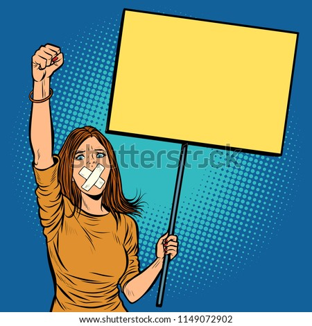 A woman with a gag in her mouth protests for freedom of speech a Stock photo © studiostoks