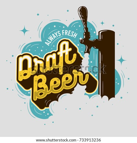 Beer tap. Bartender equipment. Alcohol is bottled. Vector illust Stock photo © MaryValery