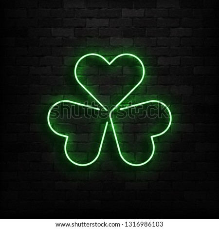 Patricks Day Neon sign and green brick wall. Realistic sign. Nat Stock photo © popaukropa
