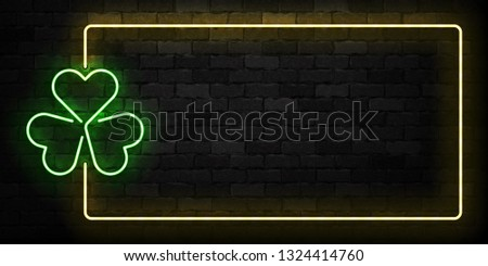 st patricks day neon sign and green brick wall realistic sign stock photo © popaukropa