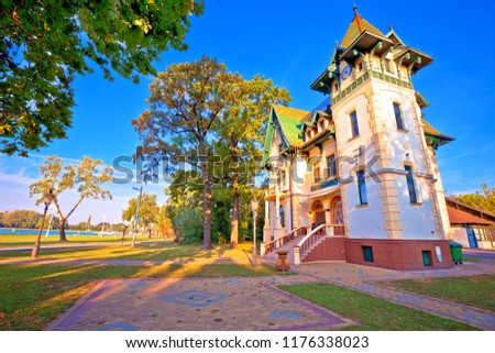 Palic lake waterfront near Subotica historic architecture view Stock photo © xbrchx