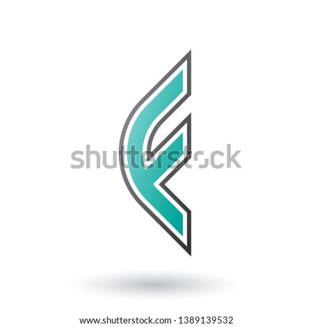 Persian Green Letter F Icon with Round Corners and Outer Stripes Stock photo © cidepix
