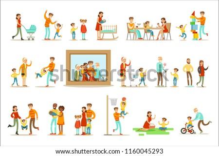 Stockfoto: Familie · ingesteld · vector · groot · vol · gelukkig · gezin