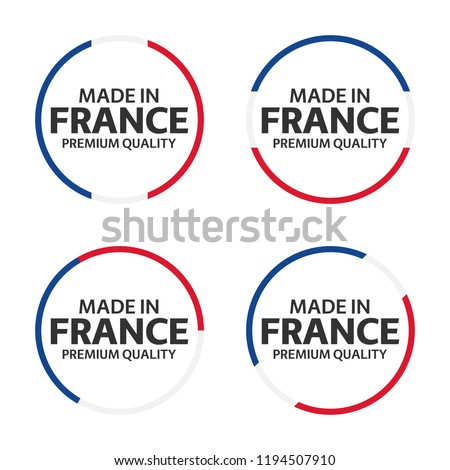 Set of four French icons, Made in France, premium quality stickers and symbols, simple vector illust Stock photo © kurkalukas