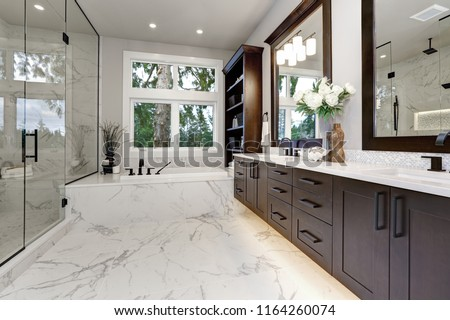 bathroom modern interior with dark hardwood cabinets and large mirror stock photo © iriana88w