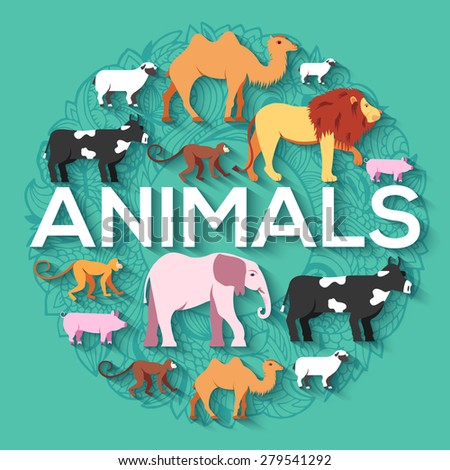 animal round concept of lion, monkey, camel, elephant, cow, pig, sheep. Vector illustration backgrou Stock photo © Linetale
