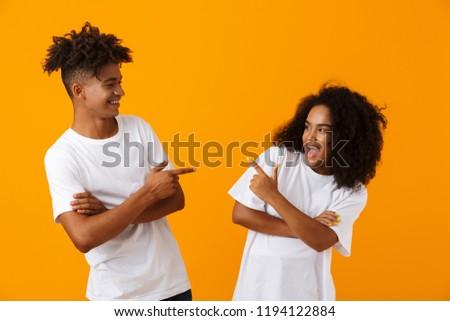 ссориться · молодые · Cute · африканских · пару · изолированный - Сток-фото © deandrobot
