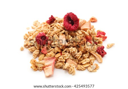 a plate of oatmeal and fresh berries isolated on white background tasty and healthy food vector ca stock photo © lady-luck