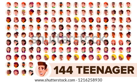 Teen Girl Avatar Set Vector. Arab, Muslim. Face Emotions. Flat, Portrait. Cute, Comic, Web. Cartoon  Stock photo © pikepicture