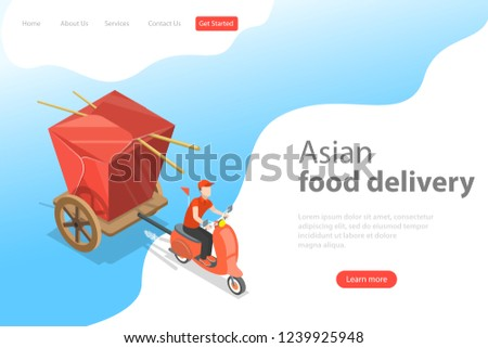 Isometric flat vector landing page template of asian food delivery. Stock photo © TarikVision