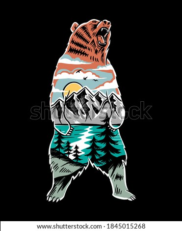 camping emblem art wilderness poster with bear mountains trees save animals   eat people quote stock photo © jeksongraphics