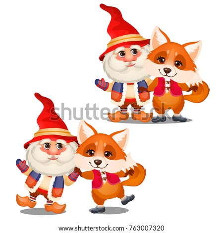 Set of funny smiling gnome and animated fox isolated on a white background. Sketch of Christmas fest Stock photo © Lady-Luck