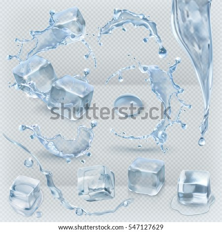 Ice Cubes Isolated Transpatrent Vector. Frost Freeze Design Effect. Clean Cold Crystal. Realistic Bl Stock photo © pikepicture