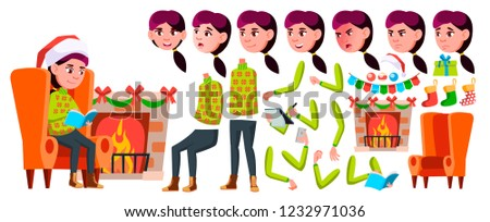 Girl Schoolgirl Kid Vector. Winter Animation Creation Set. Face Emotions, Gestures. Christmas Teenag Stock photo © pikepicture