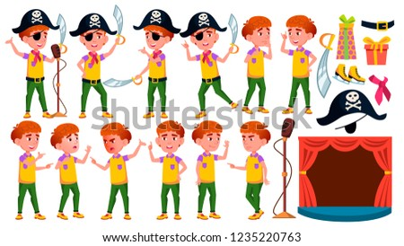 Boy Poses Set Vector. Public Performance. Pirate, Saber, Skull. For Advertisement, Greeting, Announc Stock photo © pikepicture
