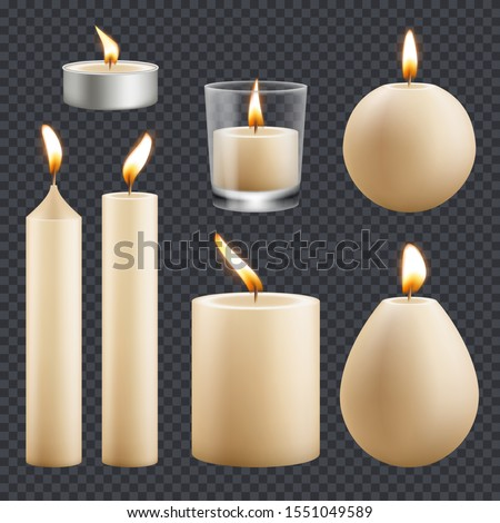 Candles Set Vector. Different Types Of Paraffin, Wax Burning Candles. Classic, Glass Jar, For Cake.  Stock photo © pikepicture