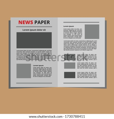 Newspaper Vector. Abstract News Template. Blank Page Spaces For Images. Breaking. Illustration Stock photo © pikepicture