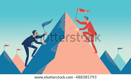 business competition vector two businessman from two sides pushing dominoes at each other illustra stock photo © pikepicture