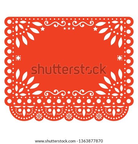 Papel Picado template with no text vector design, Mexican turquoise paper fiesta decoration from Mex Stock photo © RedKoala