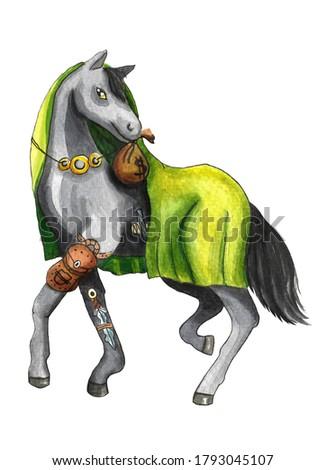 Horse horoscope character watercolor illustration isolated on white background. Stock photo © Natalia_1947
