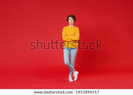 Full length image of elegant woman 20s wearing yellow raincoat s Stock photo © deandrobot