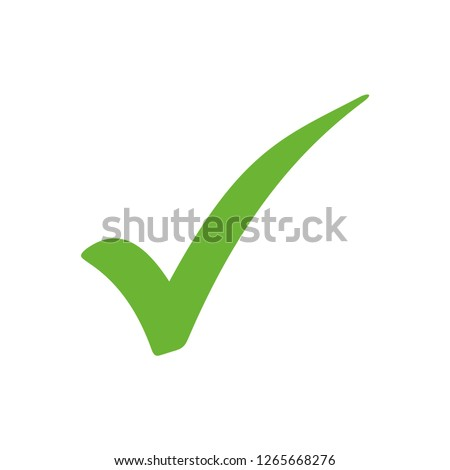 Tick sign element. Green checkmark icon isolated on white background. Simple mark graphic design. Ve stock photo © kyryloff