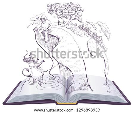 tale of priest and of his workman balda open book illustration fairy tale alexander pushkin stock photo © orensila