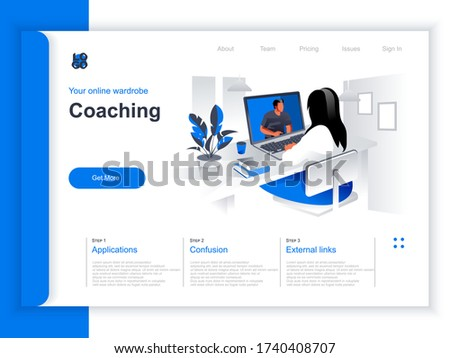isometric flat vector landing page template of behavioral digital marketing stock photo © tarikvision