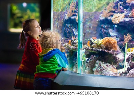 little boy and girl watching tropical coral fish in large sea life tank kids at the zoo aquarium stock photo © galitskaya