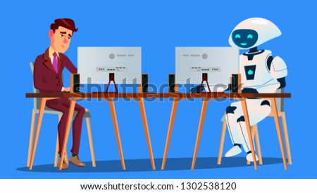 working robot vs tired businessman working on computer vector isolated illustration stock photo © pikepicture
