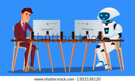 çalışma robot vs yorgun işadamı bilgisayar Stok fotoğraf © pikepicture