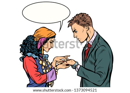 a gypsy telling fortunes by hand to businessman isolate on whit stock photo © studiostoks