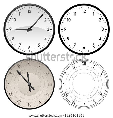 Stock photo: Modern clock and antique clock in both color and black template versions, vector illustration