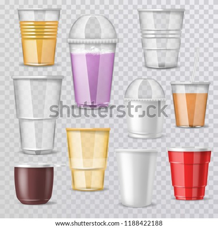 Plastic Cup Transparent Vector. Graphic Brand. Drink Mug. Disposable Tableware Clear Empty Container stock photo © pikepicture