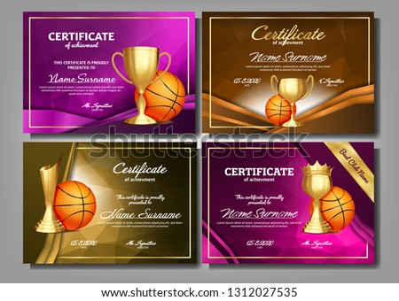 Basketball Game Certificate Diploma Golden Cup Set Vector. Sport Award Template. Achievement Design. Stock photo © pikepicture