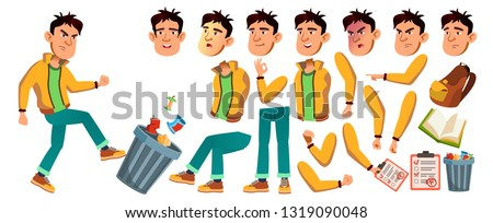 asian bad boy vector high school child animation creation set face emotions gestures bad boy e stock photo © pikepicture
