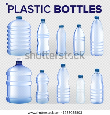 Plastic Bottle Vector. Lid Blank. Bluer Classic Water Bottle With Cap. Container For Drink, Beverage Stock photo © pikepicture