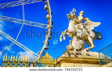 Classic statue  with Ferris wheel in background, Tuileries Garde Stock photo © doomko