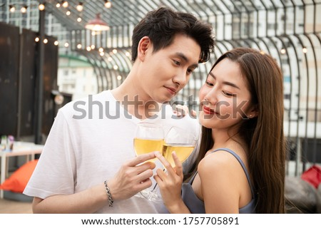 heerful beautiful woman smiling celebrating five stars rating for service provided stock photo © ichiosea