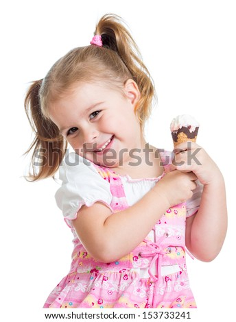 cute little girl with funny expression holding ice cream cone ou stock photo © dashapetrenko