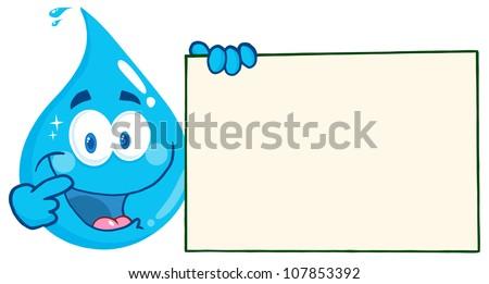 Mosolyog kék vízcsepp rajzfilmfigura tart üres tábla Stock fotó © hittoon