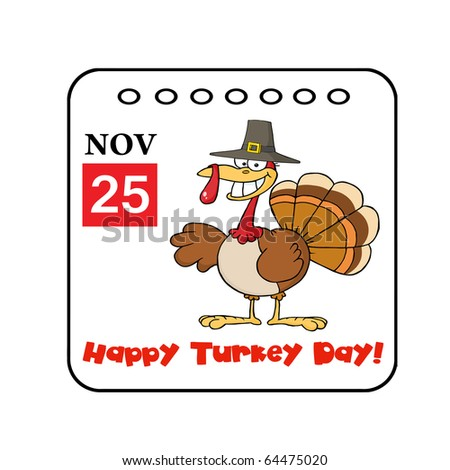 cartoon calendar page with smiling turkey bird in the saucepan giving a thumb up stock photo © hittoon