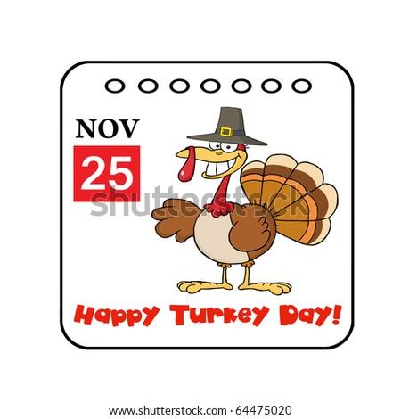 Desenho animado calendário página sorridente Turquia pássaro Foto stock © hittoon
