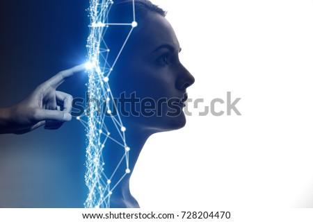 Stock fotó: Mesterséges · intelligencia · hálózatok · arc · sziluett · fej · számítógép