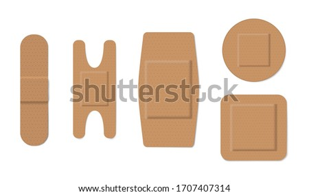 Band aid icon with shadow on a beige background. Medicine care object Stock photo © Imaagio